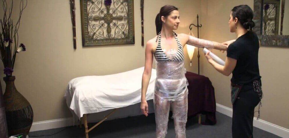Homemade Body Wraps with Plastic Wrap, plastic wrap on stomach while sleeping